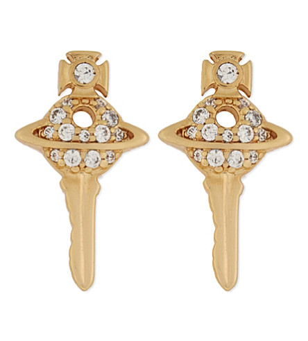 VIVIENNE WESTWOOD JEWELLERY Darianne key orb stud earrings (Gold