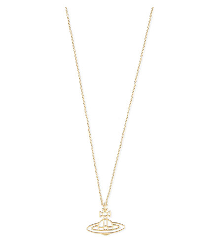 VIVIENNE WESTWOOD JEWELLERY Thin lines flat orb pendant (Gold