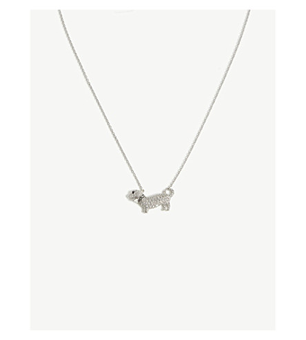 VIVIENNE WESTWOOD JEWELLERY Dachshund necklace (White+cz/black/rhodium
