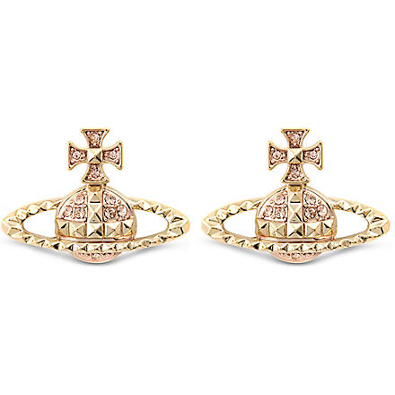 VIVIENNE WESTWOOD JEWELLERY Mayfair bas relief stud earrings (Peach/rose gold