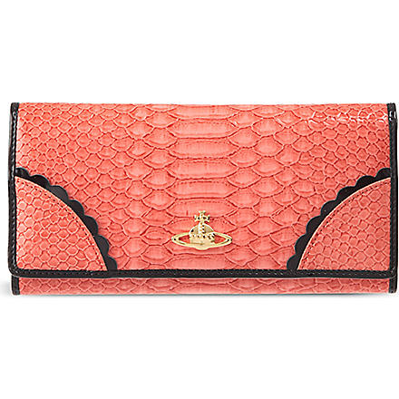 VIVIENNE WESTWOOD Frilly Snake patent wallet (Strawberry