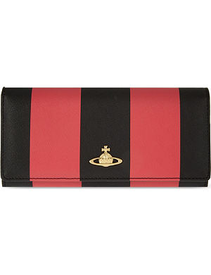 VIVIENNE WESTWOOD Santa Monica stripe saffiano leather flap purse