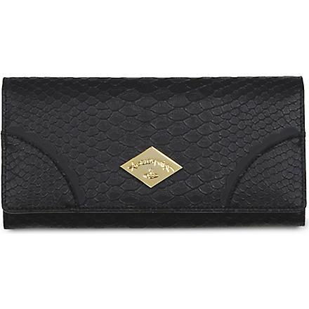 VIVIENNE WESTWOOD Frilly Snake patent wallet (Black