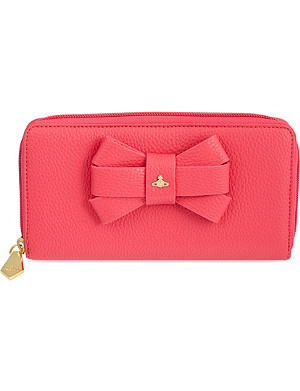 VIVIENNE WESTWOOD Bow zip-around leather continental purse