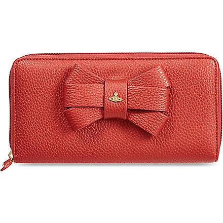 VIVIENNE WESTWOOD Bow zip-around purse (Lipstick