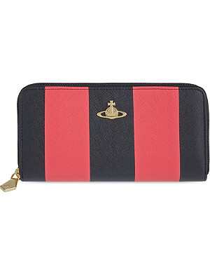 VIVIENNE WESTWOOD Santa Monica stripe saffiano leather continental wallet
