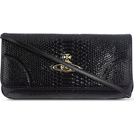 VIVIENNE WESTWOOD Frilly snake clutch (Black
