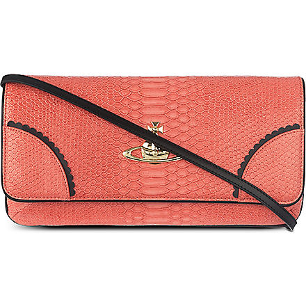 VIVIENNE WESTWOOD Frilly snake clutch (Strawberry