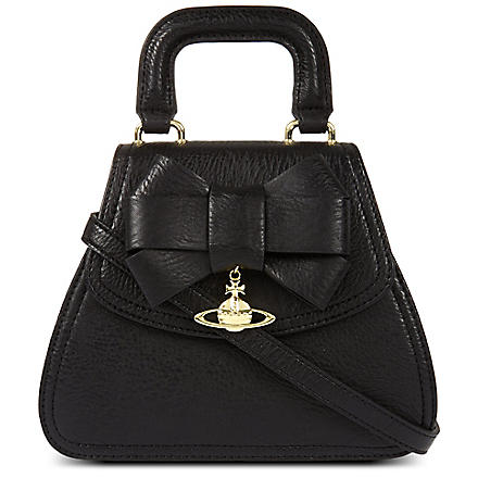 VIVIENNE WESTWOOD Jasmine bow-detailed leather tote (Black