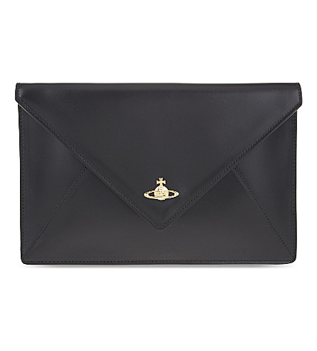 VIVIENNE WESTWOOD Private leather envelope clutch (Black