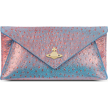 VIVIENNE WESTWOOD Cote D'Azur leather clutch (Red