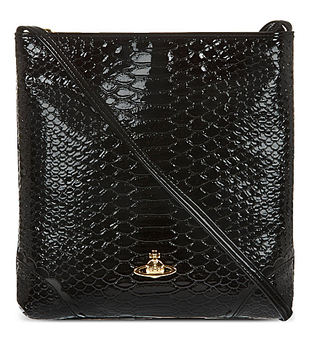 VIVIENNE WESTWOOD Patent snake-embossed cross-body bag (Black