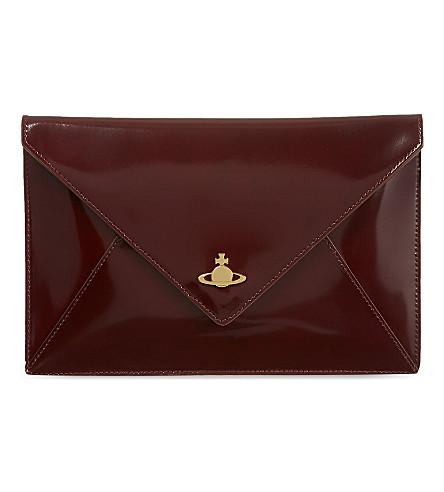 VIVIENNE WESTWOOD Leather iPad clutch (Bordeaux