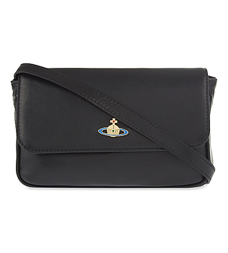 VIVIENNE WESTWOOD Orb leather clutch (Black