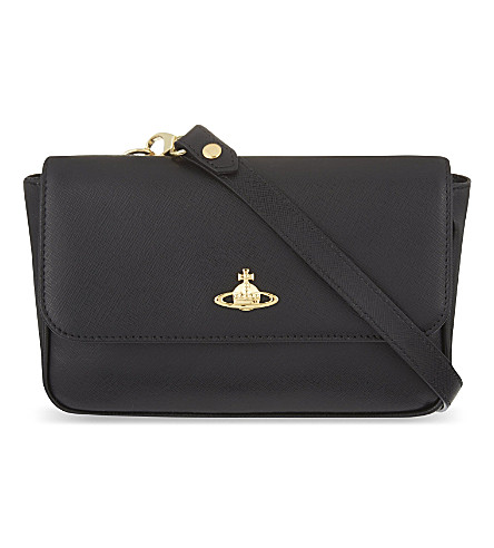 VIVIENNE WESTWOOD Saffiano leather cross-body bag (Nero