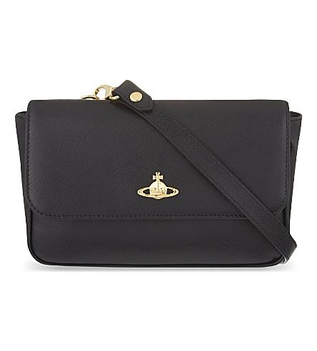 VIVIENNE WESTWOOD Saffiano leather cross-body bag (Nero