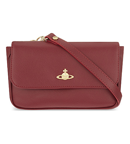 VIVIENNE WESTWOOD Saffiano leather cross-body bag (Ciliegia