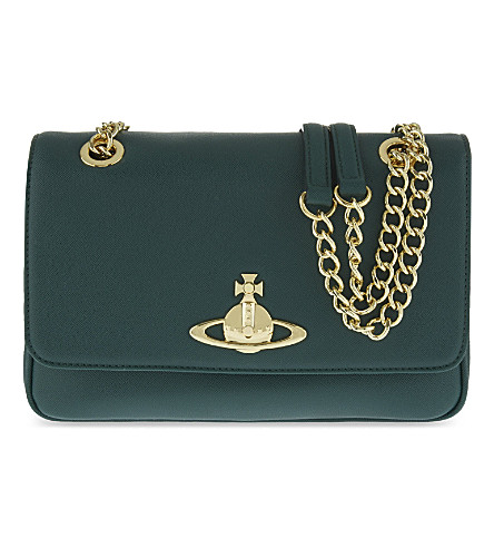 VIVIENNE WESTWOOD Divina double chain saffiano shoulder bag (Green
