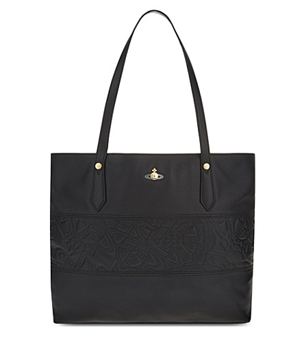 VIVIENNE WESTWOOD Cardiff leather tote (Black