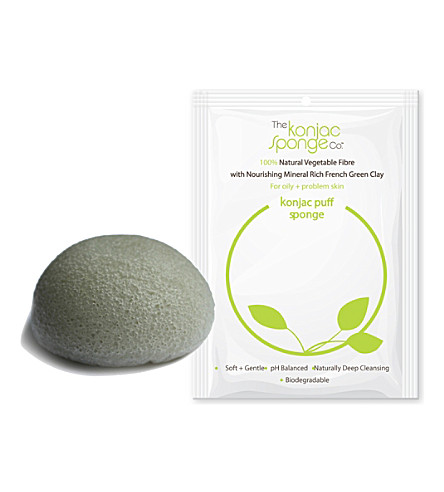 THE KONJAC SPONGE COMPANY Konjac puff sponge with French green clay - normal to oily skin