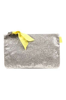 LOUISON Glitter Kitty grosgrain-detail make-up bag