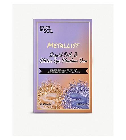 TOUCH IN SOL Metallist Liquid Foil & Glitter Eye Shadow Duo 2.2ml (Titania+&+grace