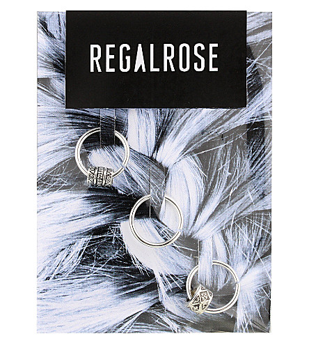REGALROSE Ancient Myth beaded hair rings (Silver