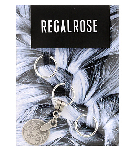 REGALROSE Babylon Coin charm hair rings (Silver