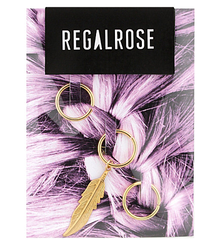 REGALROSE Faroe Feather hair rings (Gold