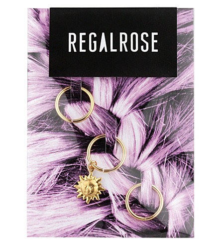 REGALROSE Mini Sun charm hair rings (Gold