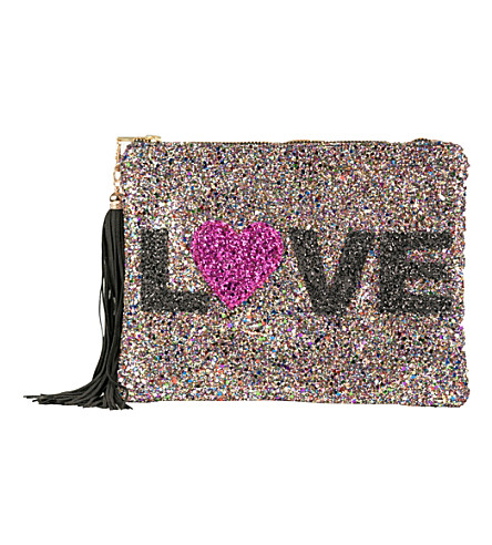 LISA BEA Love-sparkle small leather pouch