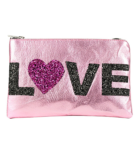 LISA BEA Love-metallic large leather pouch