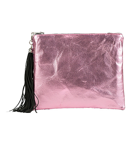 LISA BEA Sparkle-metallic small leather pouch