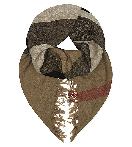 BURBERRY House check merino wool scarf (Camel+house+check