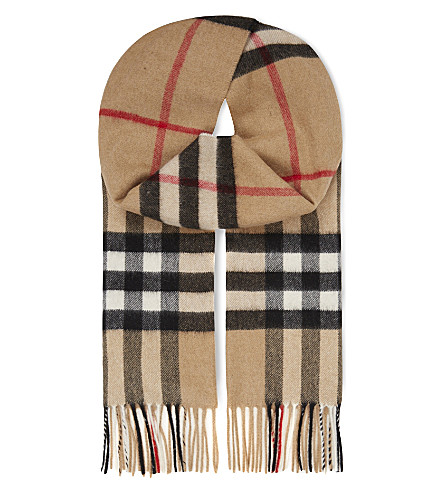 BURBERRY Giant check cashmere scarf (Camel+check