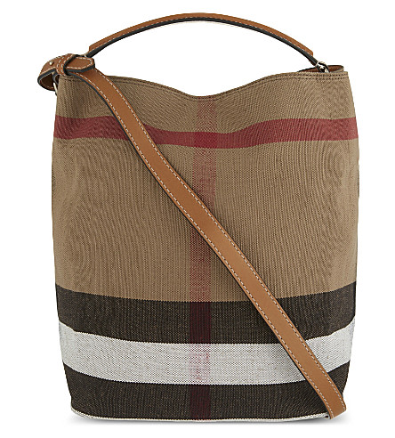 BURBERRY Ashby medium canvas bucket bag (Saddle+brown