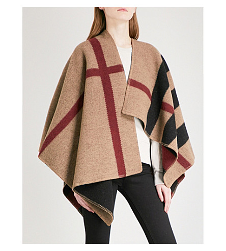 BURBERRY Mega Check wool & cashmere cape (Black