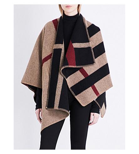 BURBERRY Mega Check wool & cashmere cape (House check black