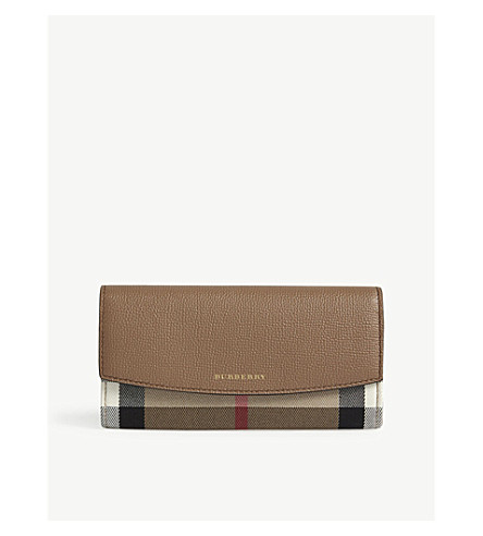 BURBERRY House check leather continental wallet (Dark+sand