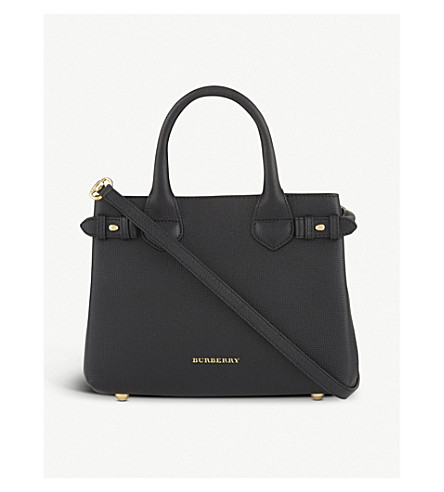 BURBERRY Banner small check leather tote (Black