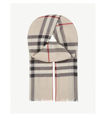 BURBERRY Giant check wool-silk scarf (Stone+check