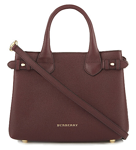 BURBERRY Banner small check leather tote (Mahogany+red