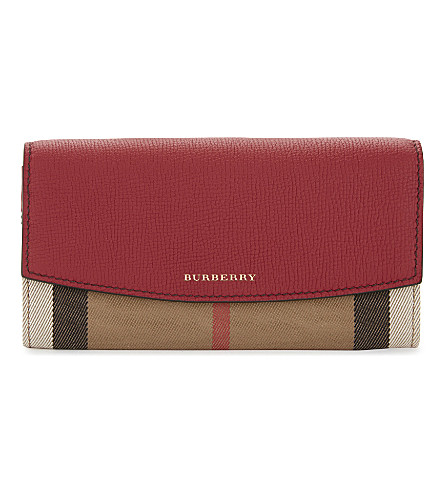 BURBERRY Porter House check leather wallet (Russet+red