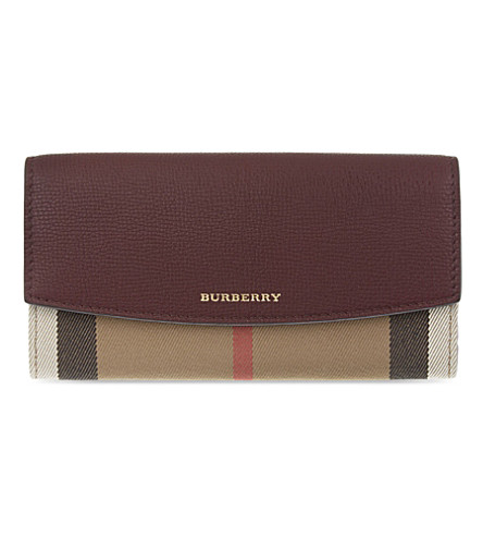 BURBERRY House check continental leather wallet (Mahogany+red