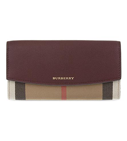BURBERRY 房子格纹大陆皮革钱包 (红木 + 红色