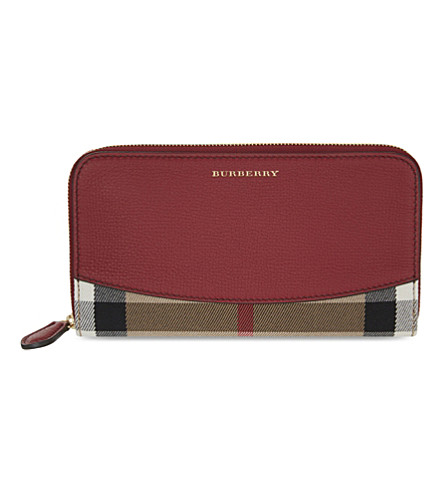 BURBERRY House check wallet (Russet+red
