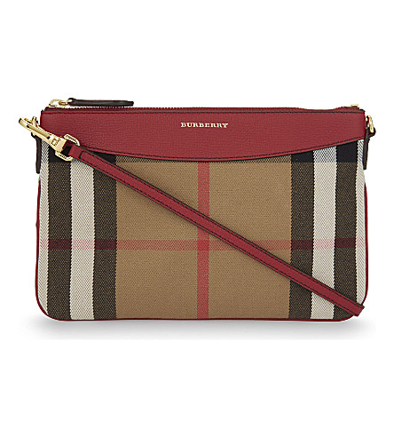 BURBERRY Peyton canvas clutch (Russet+red