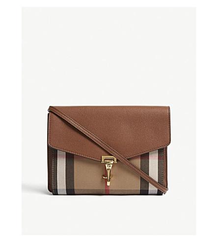 BURBERRY Macken leather check cross-body bag (Tan