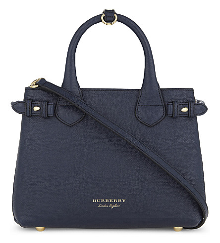 BURBERRY Banner small leather shoulder bag (Ink+blue