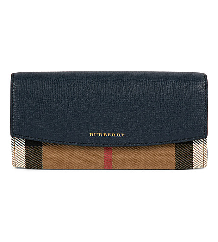 BURBERRY Porter House Check flap leather wallet (Ink+blue